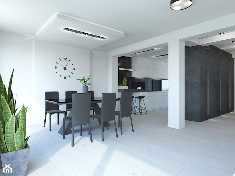 PROJEKT DOMU JEDNORODZINNEGO W SOSNOWCU - Średnia otwarta biała jadalnia jako osobne pomieszczenie, ... - zdjęcie od AFG STUDIO