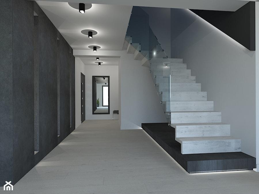 PROJEKT DOMU JEDNORODZINNEGO W SOSNOWCU - Schody, styl minimalistyczny - zdjęcie od AFG STUDIO