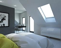PROJEKT DOMU JEDNORODZINNEGO W SOSNOWCU - Średnia biała czarna sypialnia małżeńska na poddaszu, sty ... - zdjęcie od AFG STUDIO - Homebook
