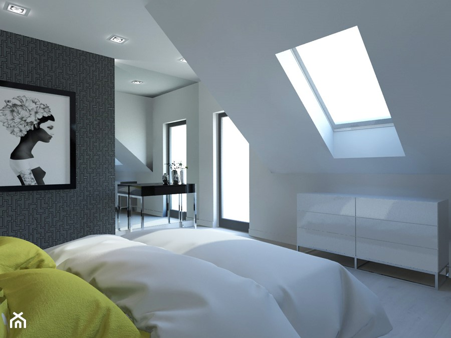 PROJEKT DOMU JEDNORODZINNEGO W SOSNOWCU - Średnia biała czarna sypialnia małżeńska na poddaszu, sty ... - zdjęcie od AFG STUDIO