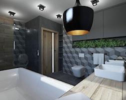 ŁAZIENKA W DOMU JEDNORODZINNYM W JASTRZĘBIU ZDROJU - Średnia czarna łazienka na poddaszu w bloku w d ... - zdjęcie od AFG STUDIO - Homebook