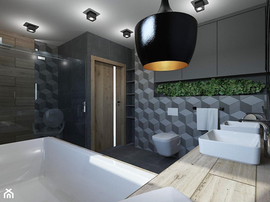 ŁAZIENKA W DOMU JEDNORODZINNYM W JASTRZĘBIU ZDROJU - Średnia czarna łazienka na poddaszu w bloku w d ... - zdjęcie od AFG STUDIO