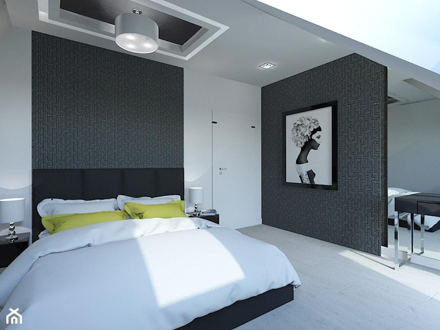 PROJEKT DOMU JEDNORODZINNEGO W SOSNOWCU - Średnia biała sypialnia małżeńska na poddaszu, styl minim ... - zdjęcie od AFG STUDIO