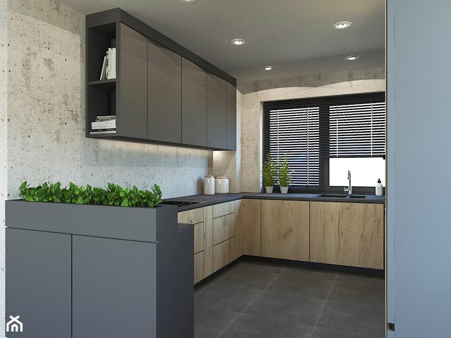 PROJEKT STREFY DZIENNEJ W DOMU W JASTRZĘBIU ZDROJU - Średnia otwarta szara kuchnia w kształcie litery g z oknem, styl industrialny - zdjęcie od AFG STUDIO