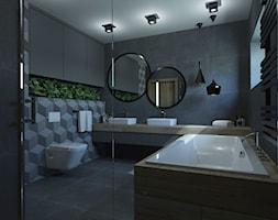 ŁAZIENKA W DOMU JEDNORODZINNYM W JASTRZĘBIU ZDROJU - Mała czarna łazienka na poddaszu w bloku w domu ... - zdjęcie od AFG STUDIO - Homebook