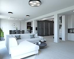 PROJEKT DOMU JEDNORODZINNEGO W SOSNOWCU - Duży biały salon z jadalnią, styl minimalistyczny - zdjęcie od AFG STUDIO - Homebook