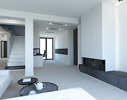 PROJEKT DOMU JEDNORODZINNEGO W SOSNOWCU - Duży biały salon, styl minimalistyczny - zdjęcie od AFG STUDIO - Homebook