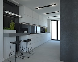 PROJEKT DOMU JEDNORODZINNEGO W SOSNOWCU - Średnia otwarta biała kuchnia jednorzędowa z oknem, styl ... - zdjęcie od AFG STUDIO - Homebook
