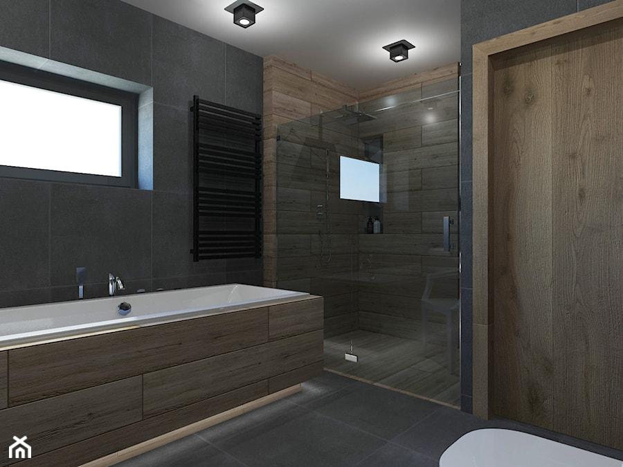 ŁAZIENKA W DOMU JEDNORODZINNYM W JASTRZĘBIU ZDROJU - Mała czarna łazienka na poddaszu w bloku w domu ... - zdjęcie od AFG STUDIO