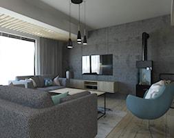 PROJEKT STREFY DZIENNEJ W DOMU W JASTRZĘBIU ZDROJU - Salon, styl industrialny - zdjęcie od AFG STUDIO - Homebook