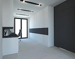PROJEKT DOMU JEDNORODZINNEGO W SOSNOWCU - Średnie czarne białe biuro pracownia kącik do pracy, styl minimalistyczny - zdjęcie od AFG STUDIO