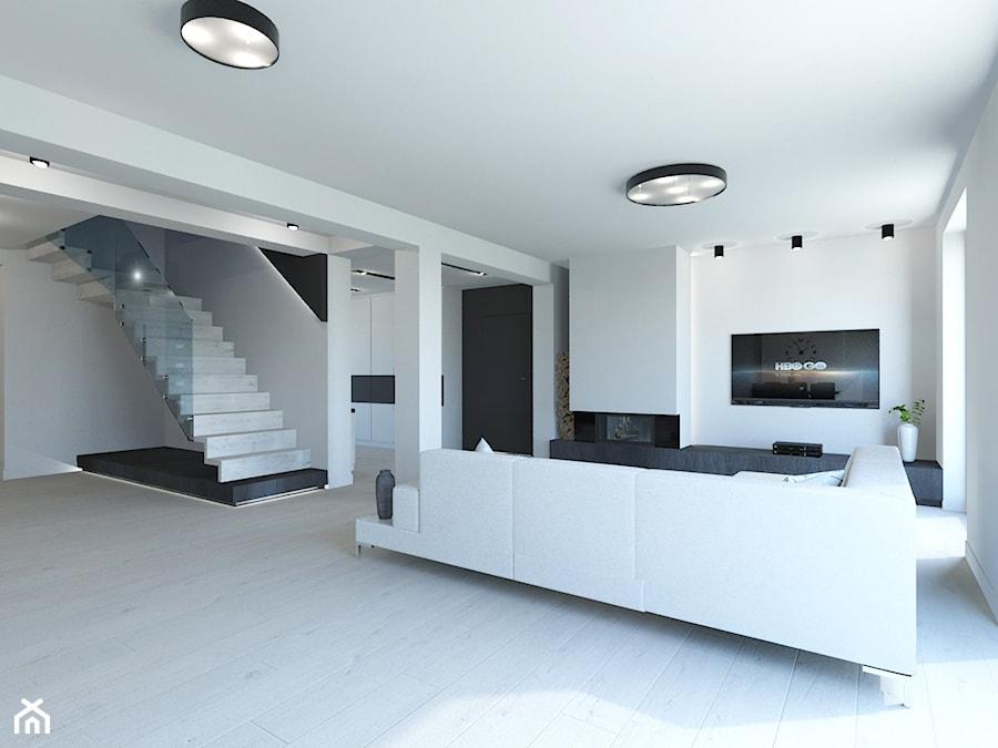 PROJEKT DOMU JEDNORODZINNEGO W SOSNOWCU - Duży biały salon, styl minimalistyczny - zdjęcie od AFG STUDIO