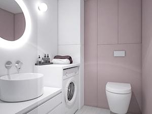 Kawalerka 31,44m2 dla rozważnej i romantycznej - Mała biała różowa łazienka w bloku w domu jednorodzinnym bez okna, styl nowoczesny - zdjęcie od Fuss Studio