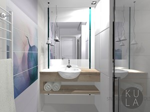 Projekt wnętrza mieszkania - Mała biała łazienka na poddaszu w bloku w domu jednorodzinnym bez okna, styl nowoczesny - zdjęcie od studio KULA design   Rzeszów