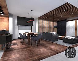 Projekt domu jednorodzinnego - Duża biała jadalnia w salonie, styl industrialny - zdjęcie od studio KULA design | Rzeszów