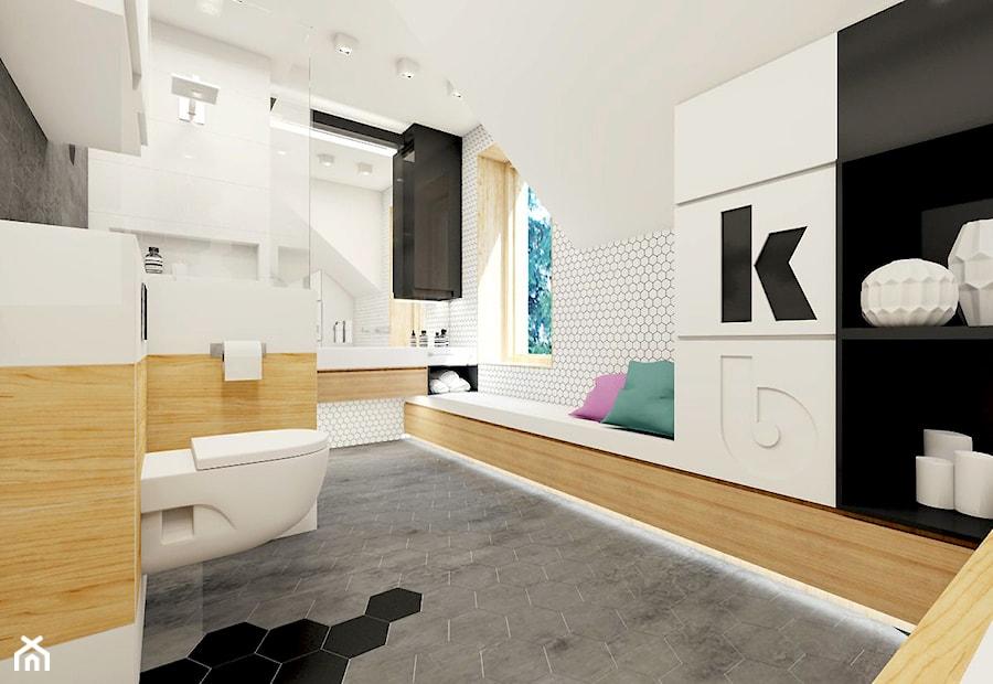 Łazienka z płytką heksagonalną. - zdjęcie od NEFA Architekci