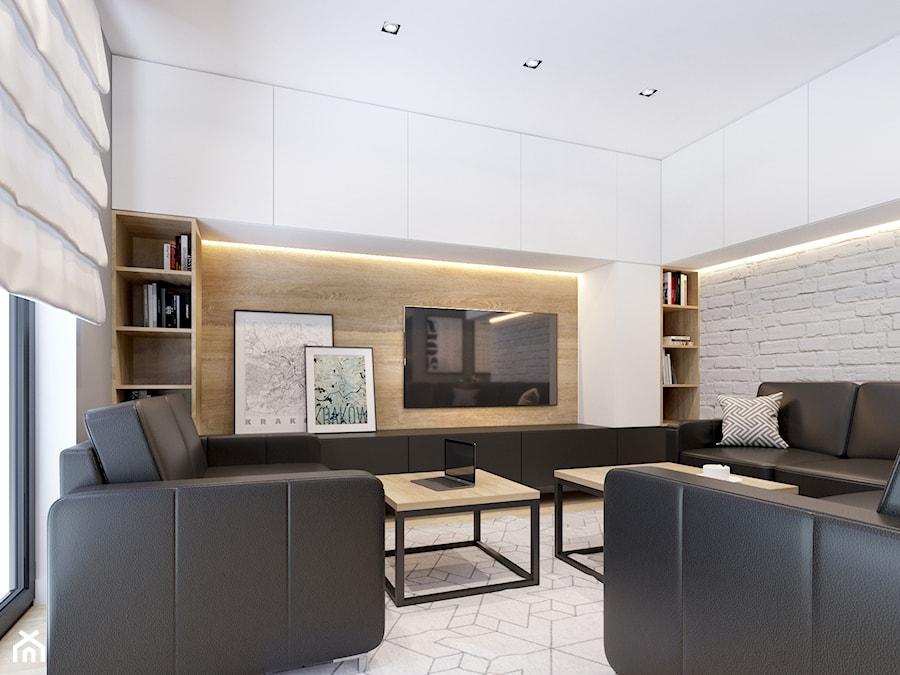 Salon z białą cegłą - zdjęcie od NEFA Architekci