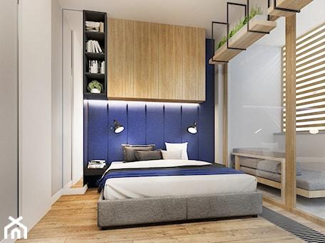 Aranżacje wnętrz - Sypialnia: Sypialnia z niebieskimi elementami - NEFA Architekci - Wnętrza. Przeglądaj, dodawaj i zapisuj najlepsze zdjęcia, pomysły i inspiracje designerskie. W bazie mamy już prawie milion fotografii!