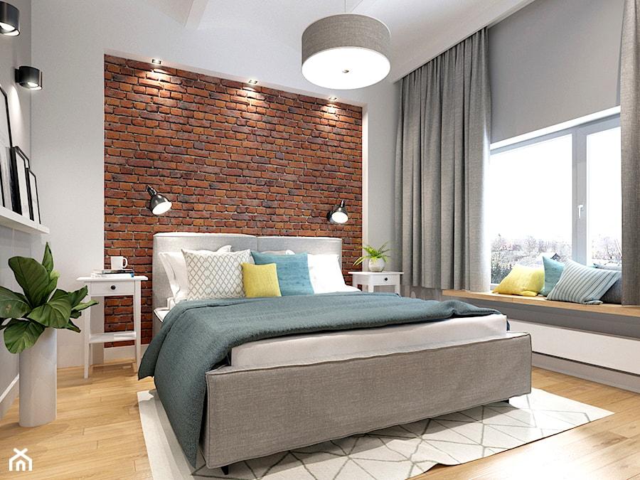 Sypialnia z cegłą - zdjęcie od NEFA Architekci