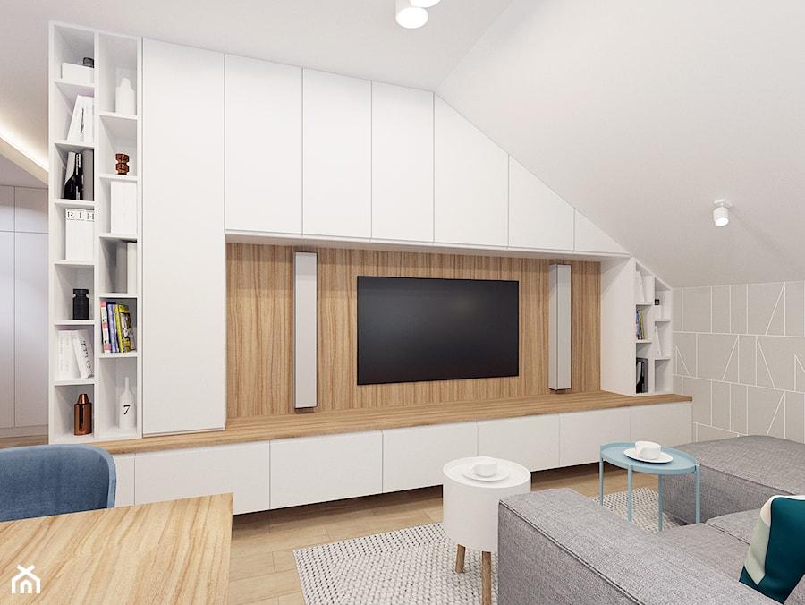 Salon w apartamencie Soft Blue. - zdjęcie od NEFA Architekci