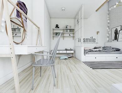 Sypialnia w stylu skandynawskim - widok na toaletkę. - zdjęcie od NEFA Architekci