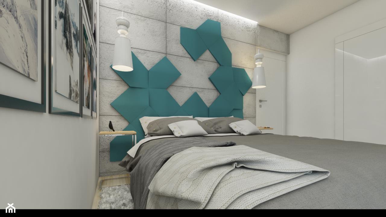 Sypialnia z kroplą turkusu - zdjęcie od NEFA Architekci - Wnętrza - Homebook