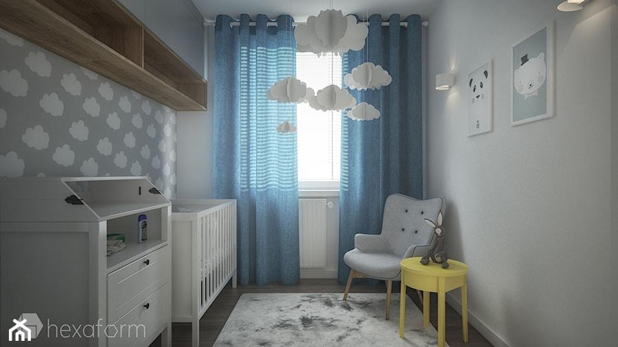 Aranżacje wnętrz - Pokój dziecka: Mieszkanie 2+1. - Mały szary pokój dziecka dla chłopca dla dziewczynki dla niemowlaka, styl skandynawski - hexaform. Przeglądaj, dodawaj i zapisuj najlepsze zdjęcia, pomysły i inspiracje designerskie. W bazie mamy już prawie milion fotografii!