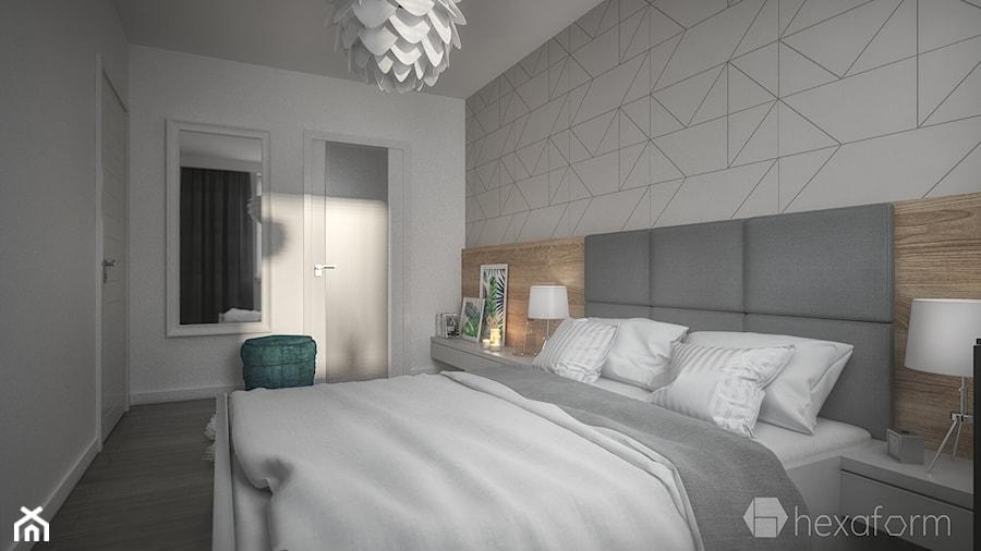Mieszkanie 2+1. - Średnia biała szara sypialnia małżeńska, styl nowoczesny - zdjęcie od hexaform