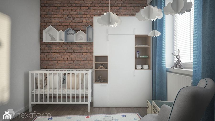 Mieszkanie 2+1. - Mały szary pokój dziecka dla chłopca dla dziewczynki dla niemowlaka, styl skandynawski - zdjęcie od hexaform