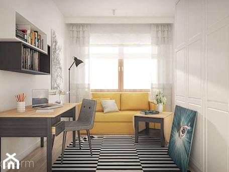 Aranżacje wnętrz - Biuro: Projekt wnętrza domu. - Średnie białe biuro domowe kącik do pracy w pokoju, styl skandynawski - hexaform. Przeglądaj, dodawaj i zapisuj najlepsze zdjęcia, pomysły i inspiracje designerskie. W bazie mamy już prawie milion fotografii!