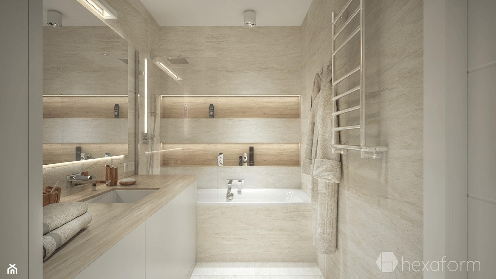 Projekt mieszkania 76m2. - Średnia biała łazienka na poddaszu w bloku w domu jednorodzinnym bez okna, styl nowoczesny - zdjęcie od hexaform - Homebook