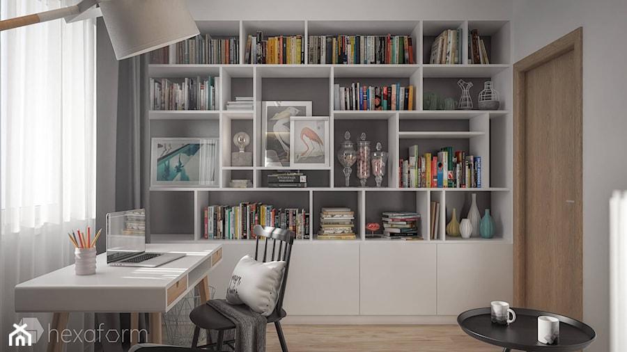 Projekt wnętrza domu II. - Małe szare biuro domowe kącik do pracy, styl skandynawski - zdjęcie od hexaform