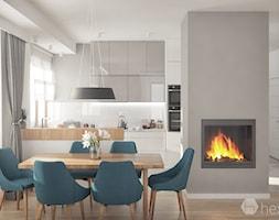 Projekt wnętrza domu. - Średnia otwarta biała szara jadalnia w kuchni, styl nowoczesny - zdjęcie od hexaform