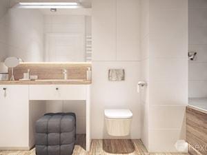 Mieszkanie 2+1. - Mała biała czarna łazienka na poddaszu w bloku w domu jednorodzinnym bez okna, styl nowoczesny - zdjęcie od hexaform
