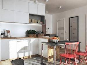 Projekt kuchni. - Mała otwarta kuchnia w kształcie litery l w aneksie, styl nowoczesny - zdjęcie od hexaform
