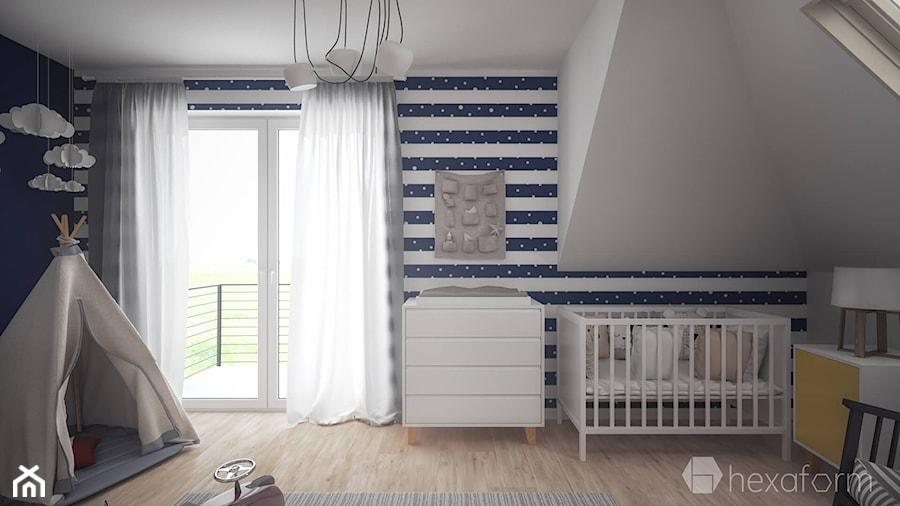 Projekt wnętrza domu II. - Średni biały szary niebieski pokój dziecka dla chłopca dla dziewczynki dla niemowlaka, styl skandynawski - zdjęcie od hexaform