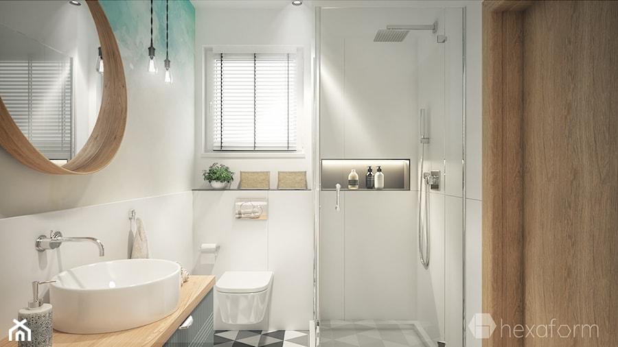 Projekt wnętrza domu II. - Mała beżowa łazienka na poddaszu w bloku w domu jednorodzinnym z oknem, styl nowoczesny - zdjęcie od hexaform
