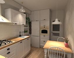 Kuchnia w bloku - Średnia zamknięta szara kuchnia w kształcie litery u, styl prowansalski - zdjęcie od DECOLOOK