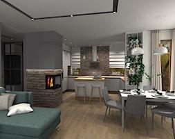 Dom pod Środą Wielkopolską - Mały szary salon z kuchnią z jadalnią, styl skandynawski - zdjęcie od DECOLOOK