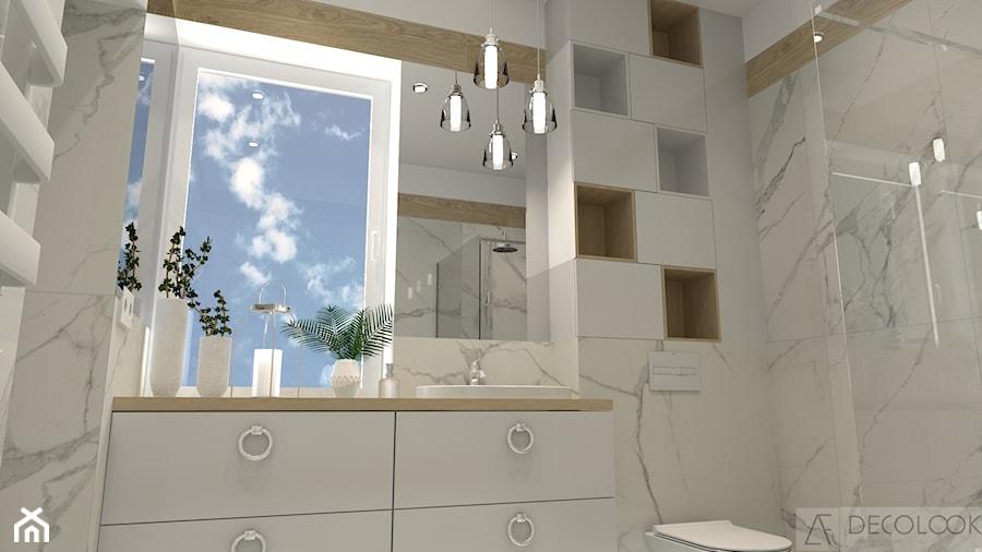 łazienka Marmur Z Drewnem łazienka Styl Glamour Zdjęcie