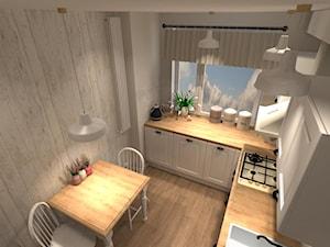 Kuchnia w bloku - Mała zamknięta szara kuchnia w kształcie litery l z oknem, styl prowansalski - zdjęcie od DECOLOOK