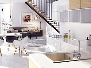 Zlewozmywaki granitowe - Średnia otwarta biała kuchnia w kształcie litery l w aneksie, styl włoski - zdjęcie od DEANTE
