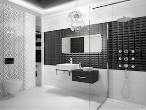 Miski - Średnia biała łazienka w bloku w domu jednorodzinnym bez okna, styl glamour - zdjęcie od DEANTE