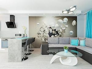 Apartament Bliżej Morza Kołobrzeg - Średnia otwarta biała szara kuchnia w kształcie litery u w aneksie, styl nowoczesny - zdjęcie od Rumianowski Design