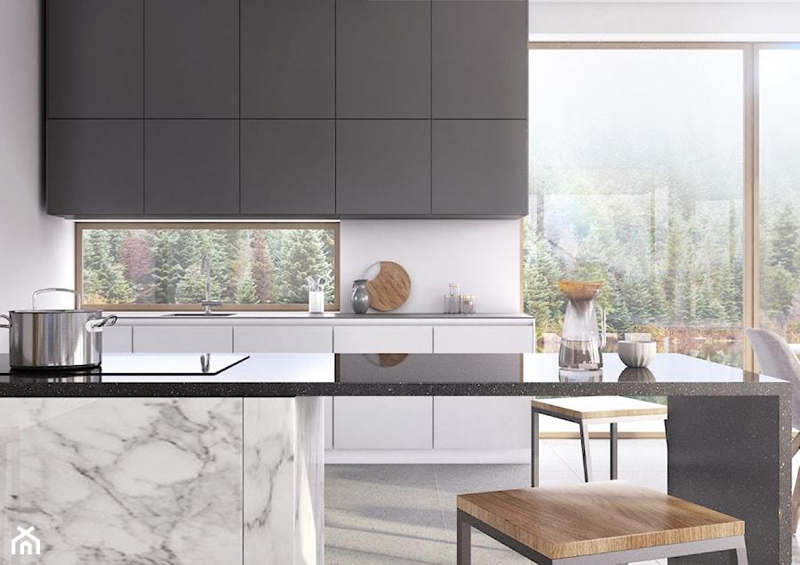 RAUVISIO crystal - Średnia otwarta biała kuchnia dwurzędowa z wyspą z oknem, styl nowoczesny - zdjęcie od REHAU