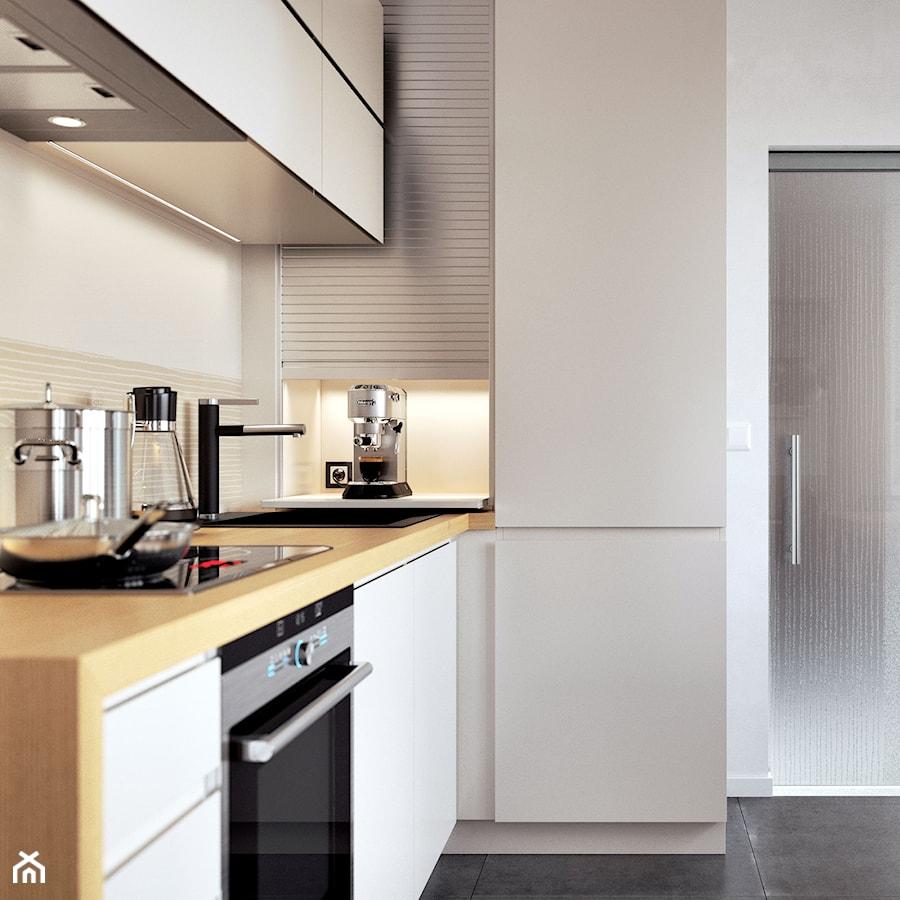 Aranżacje wnętrz - Kuchnia: Rauvolet - Mała otwarta biała kuchnia w kształcie litery l z oknem, styl nowoczesny - REHAU. Przeglądaj, dodawaj i zapisuj najlepsze zdjęcia, pomysły i inspiracje designerskie. W bazie mamy już prawie milion fotografii!