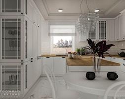 Kuchnia w stylu klasycznym z białymi frontami - Duża otwarta szara kuchnia w kształcie litery u z wyspą z oknem, styl klasyczny - zdjęcie od Pracownia Projektowa Wojciech Zieliński