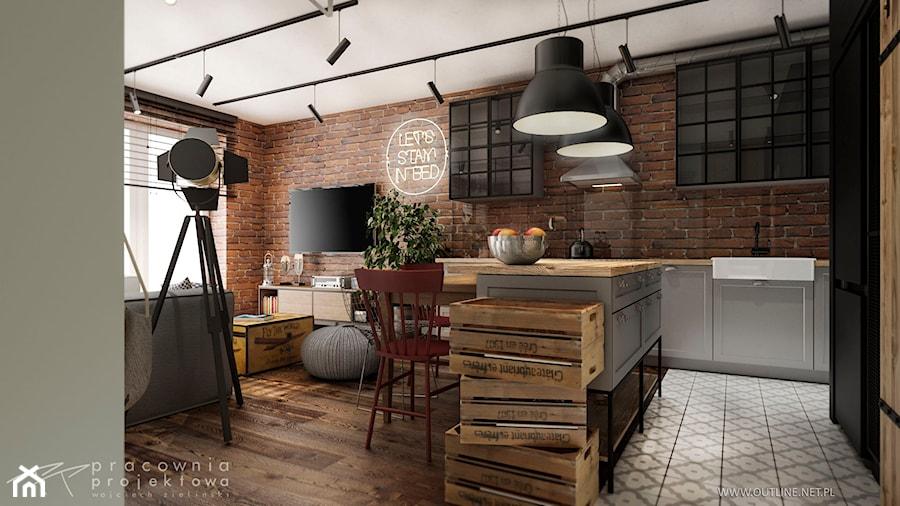Mieszkanie w stylu industrialnym - Średnia otwarta szara kuchnia w kształcie litery l w aneksie z wyspą z oknem, styl industrialny - zdjęcie od Pracownia Projektowa Wojciech Zieliński
