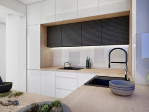 Biała nowoczesna kuchnia z antracytowym sufitem