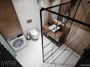 Mieszkanie w stylu industrialnym - Mała brązowa szara łazienka w bloku w domu jednorodzinnym bez okna, styl industrialny - zdjęcie od Pracownia Projektowa Wojciech Zieliński